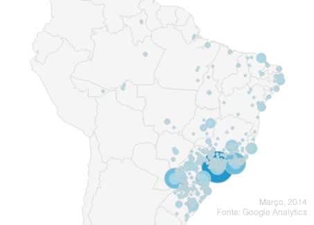 Anuncie no VisiteFoz: Distribuição dos acessos no Brasil, em 2014
